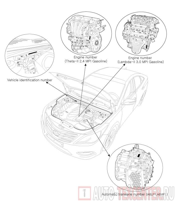 Расположение вин номера Hyundai Grandeur 3 (HG)